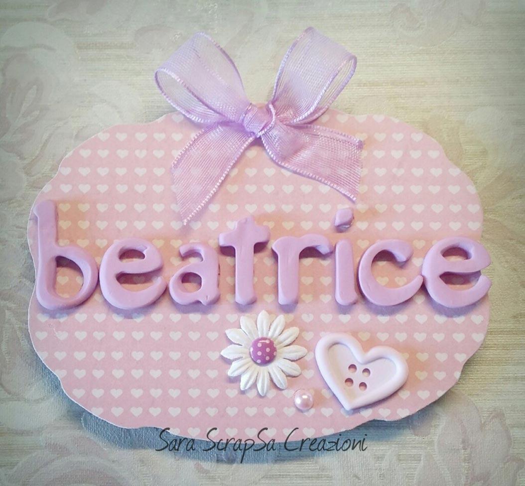 fiocco nascita targa bambina rosa