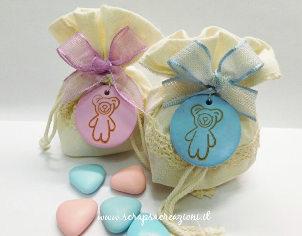 bomboniere battesimo animaletti orsetti sacchetti porta confetti