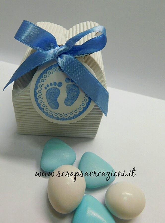 bomboniere battesimo moderne scatolina porta confetti con piedini