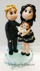 cake topper battesimo bambino genitori famiglia