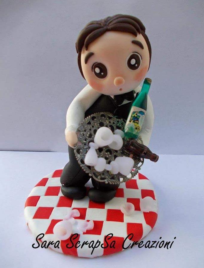 cake topper compleanno cameriere