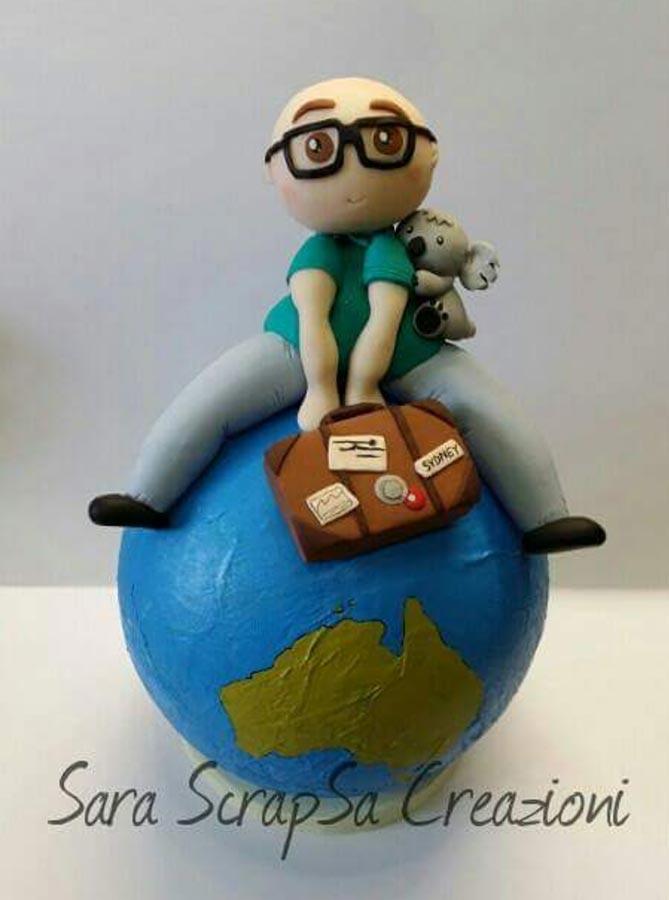 cake topper compleanno viaggi mondo