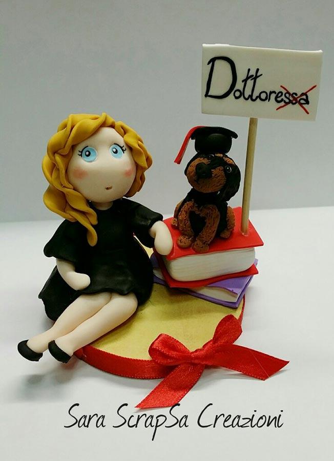 cake topper laurea dottoressa libri cagnolino