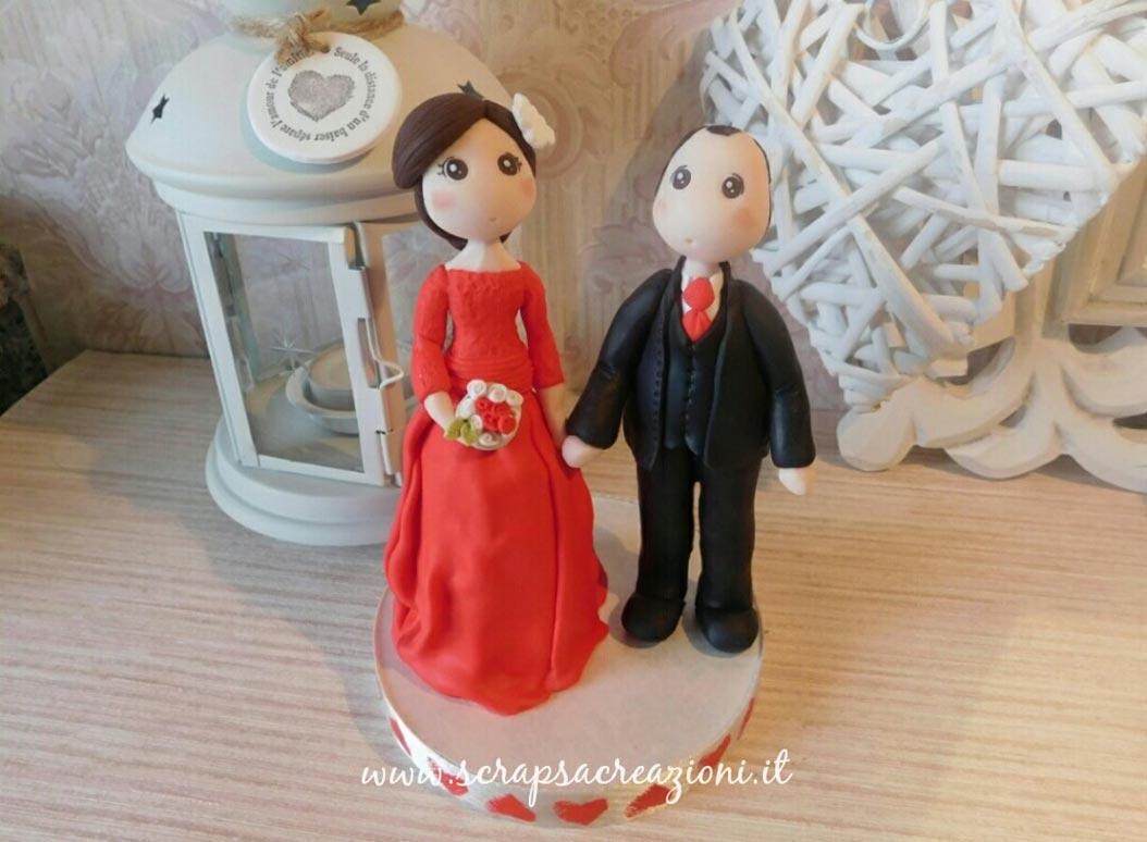 cake topper matrimonio vestito rosso