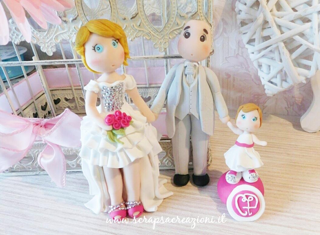cake topper torta nuziale famiglia figlia bambina
