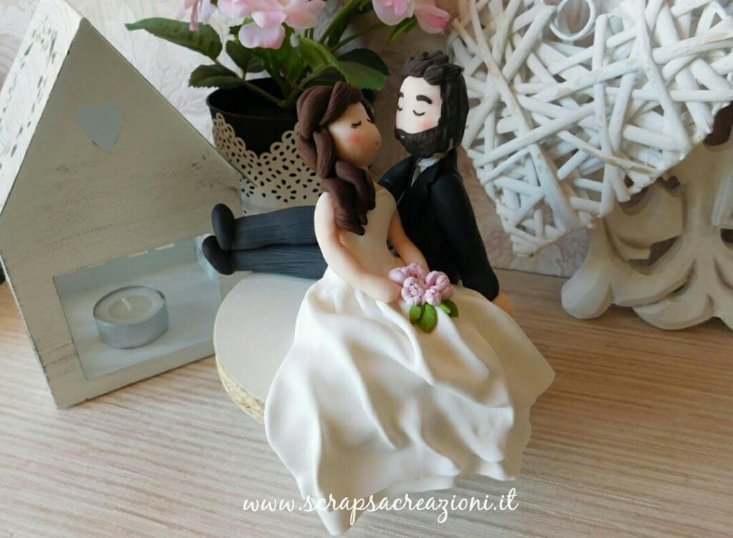 cake topper torta nuziale sposini bacio