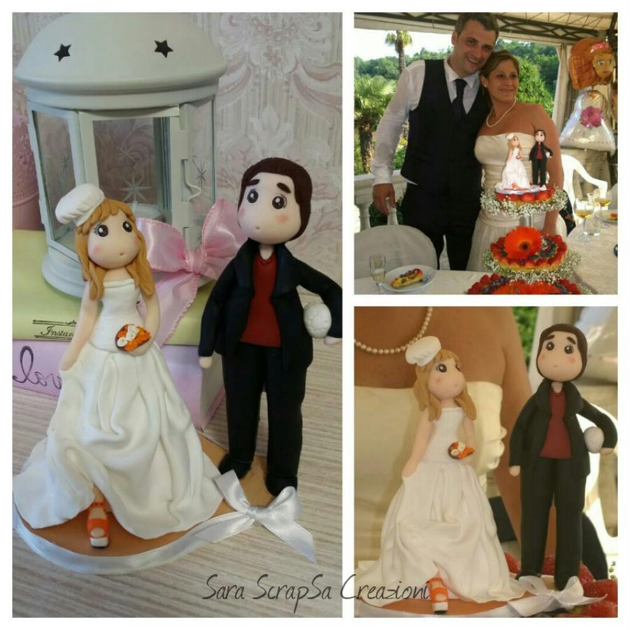 cake topper calcio matrimonio sposi