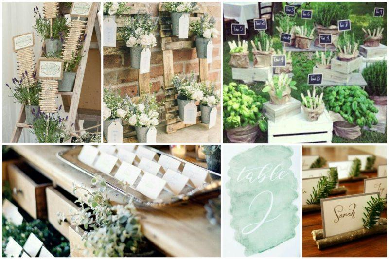 decorazioni segnaposto tavoli matrimonio verde greenery