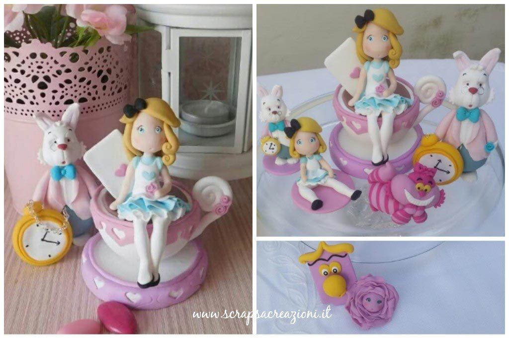Cake topper in fimo Alice nel paese delle meraviglie e altri soggetti