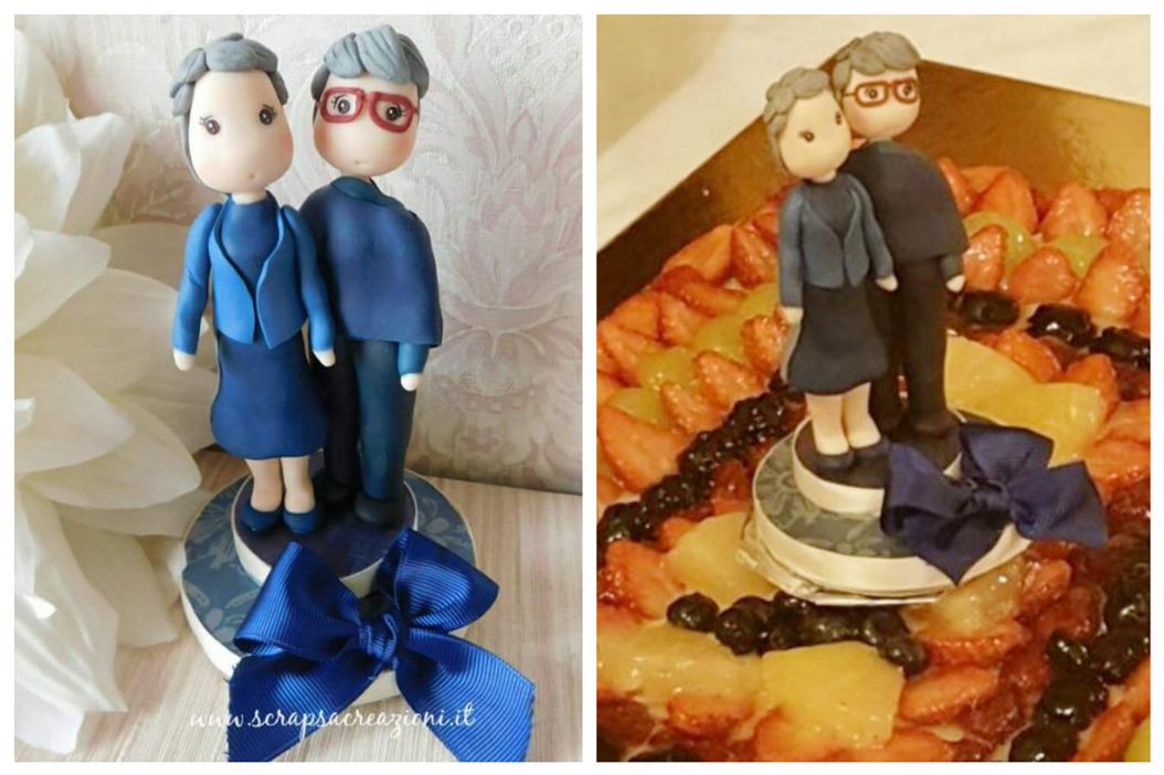 cake topper unioni civili donne su torta alla frutta