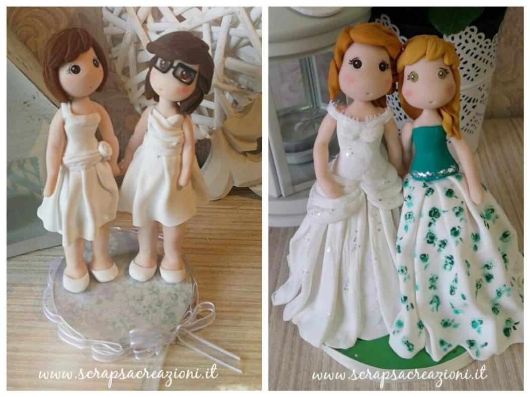 cake topper unioni civili matrimonio donne in abito tradizionale