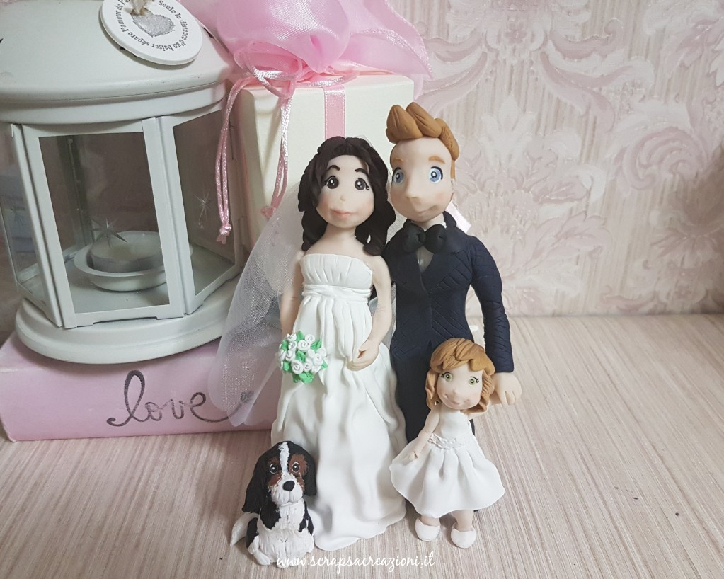 cake topper matrimonio con cane e bambini