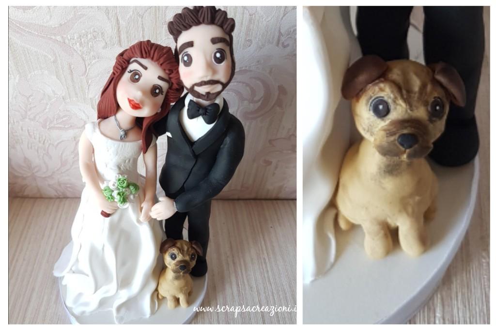 cake topper matrimonio tradizionale sposi con cane