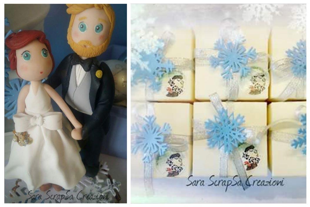 matrimonio invernale, bomboniere in fimo cristalli di ghiaccio