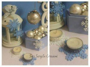 matrimonio invernale, decorazioni in fimo bianco e celeste