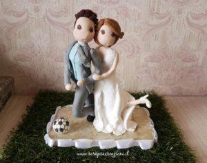 matrimonio tema calcio cake topper calciatore