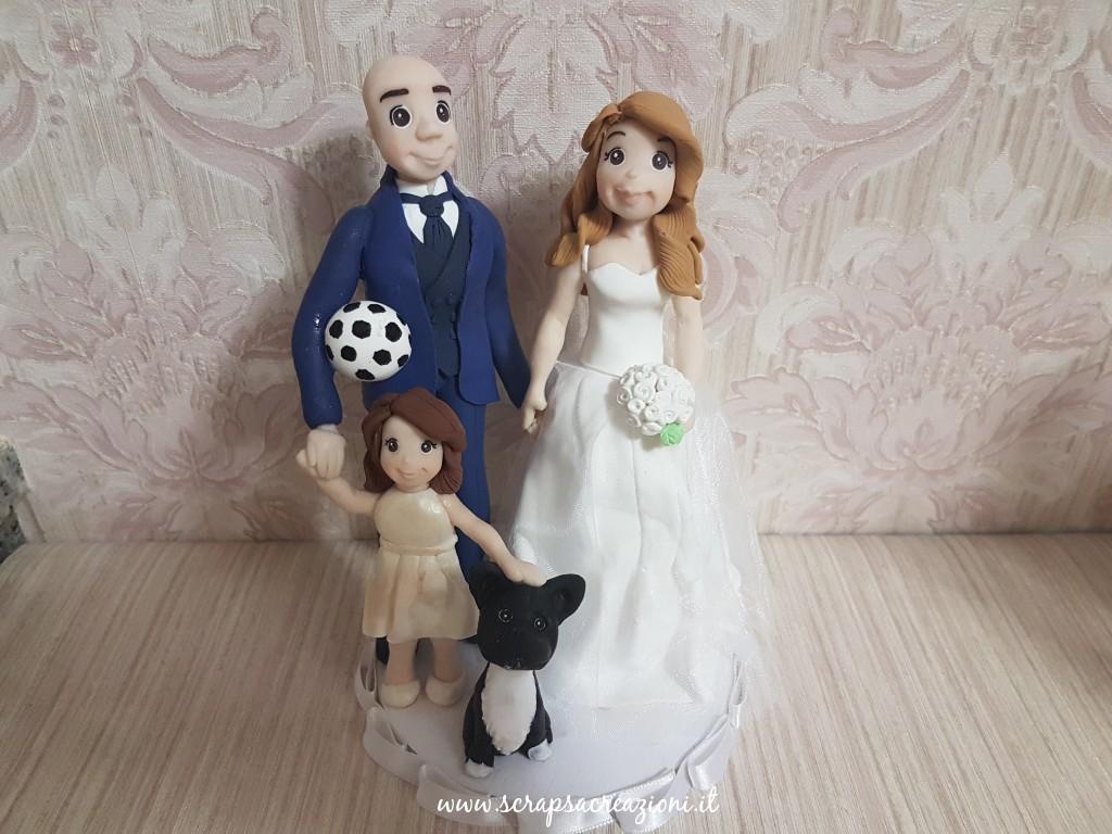 matrimonio tema calcio cake topper famiglia