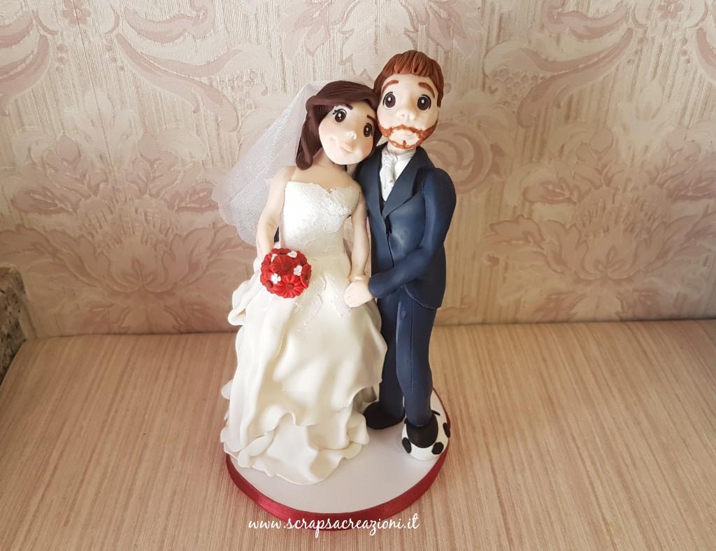 matrimonio tema calcio cake topper tradizionale