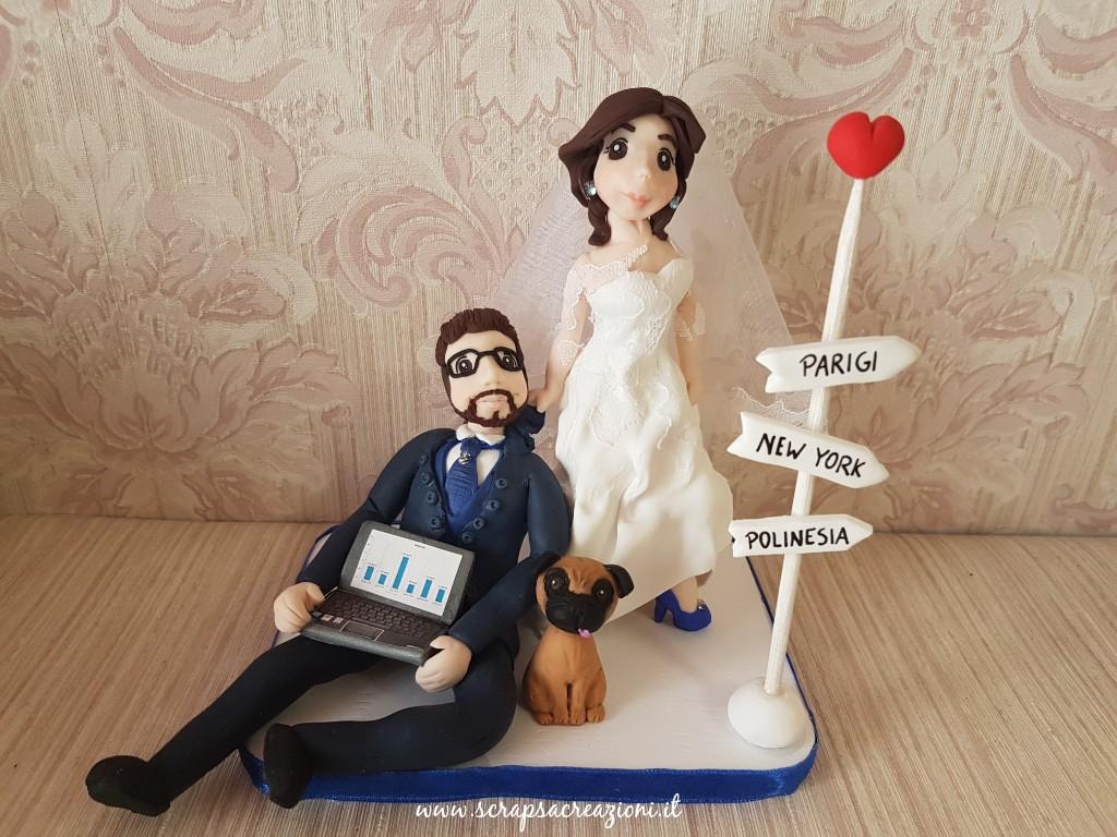 cake topper personalizzato per matrimonio all'estero, tema viaggi