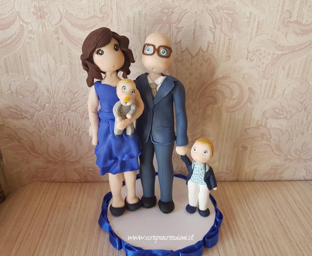 cake topper battesimo fimo con famiglia