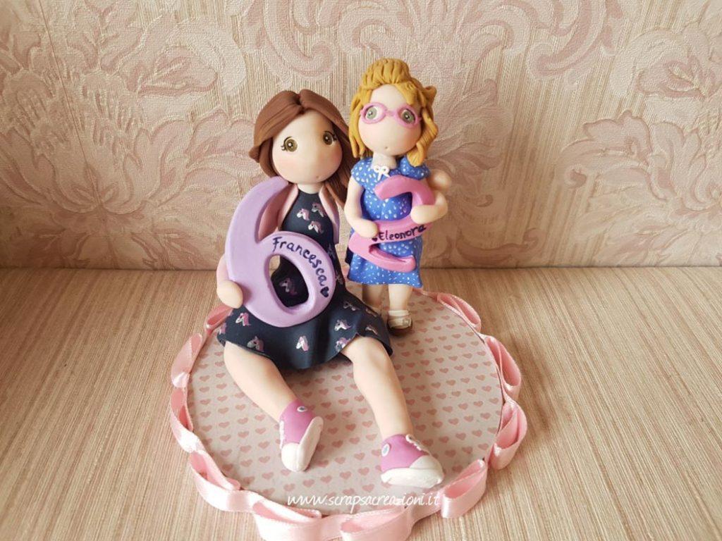 cake topper compleanno bimba sorelle