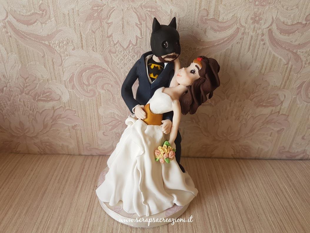 cake topper realistici sposi batman wonderwoman