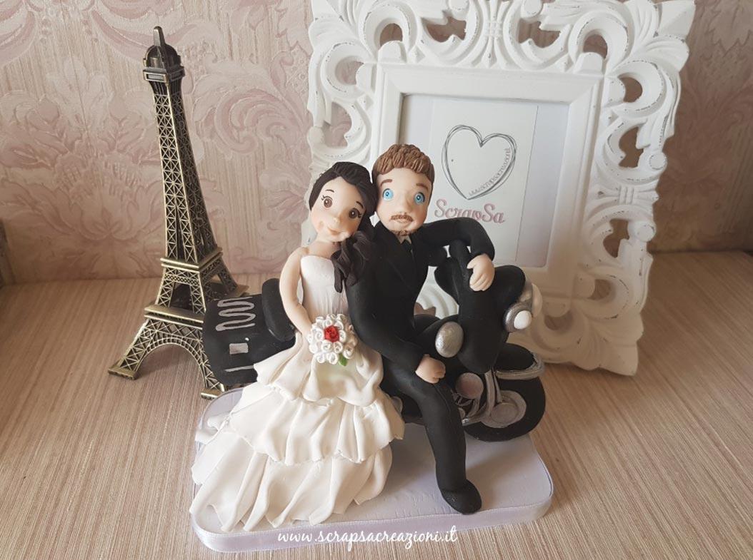 cake topper realistici sposi moto