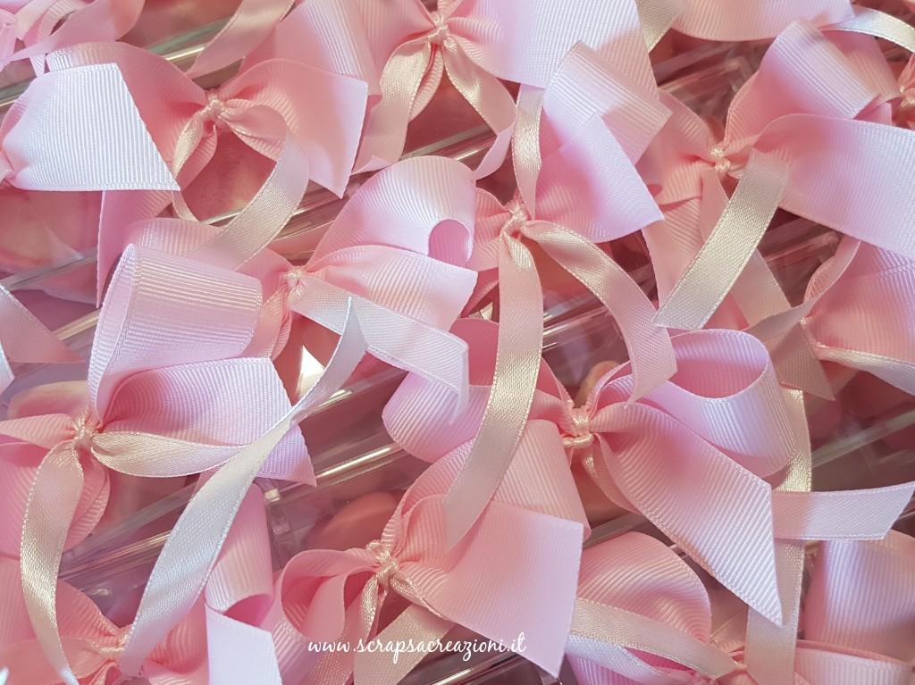 fiocchi rosa su scatoline plexiglass battesimo