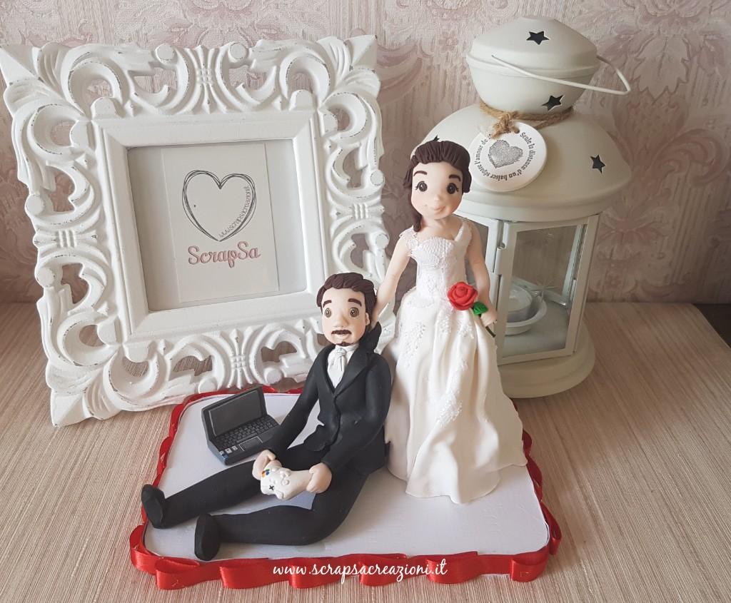 statuine sposi divertenti per torte nuziali con passione per i videogiochi