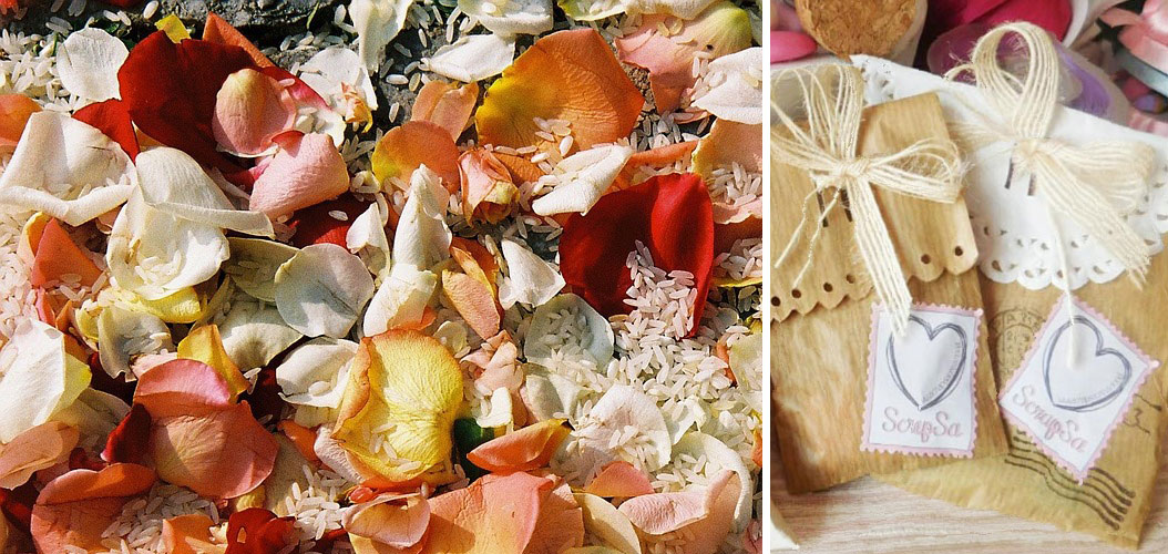 sacchetti riso e petali di rosa per contenuto wedding bag