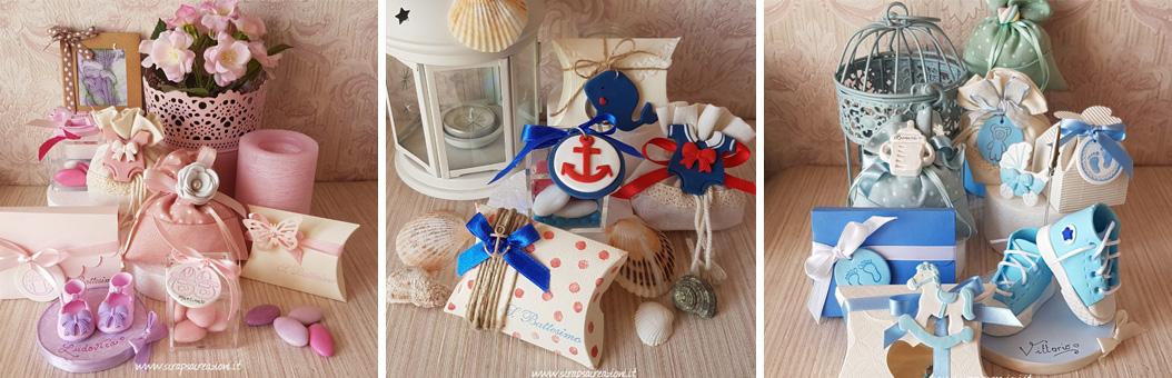 decorazioni confettata e caramellata per battesimo bambina, bambino. gemelli