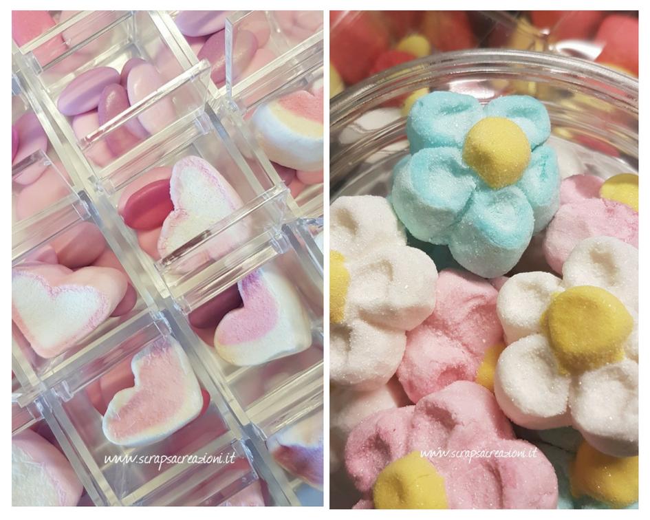 confetti rosa e celesti e marshamallows per confettata e bomboniere battesimo