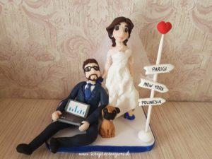 cake topper sposi con cane cucciolo