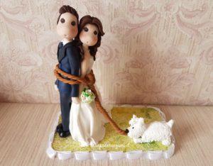 cake topper sposi con cane simpatico