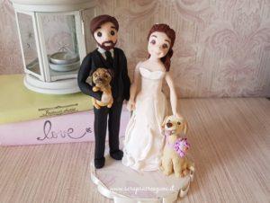 cake topper sposi con cani