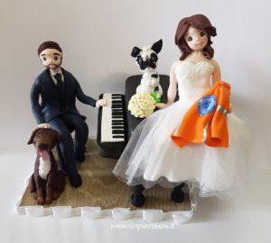 cake topper sposi con cani simpatici