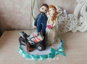 cake topper sposi con moto
