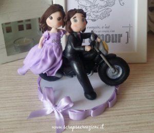 cake topper sposi moto romantici