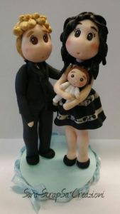 cake topper battesimo con famiglia