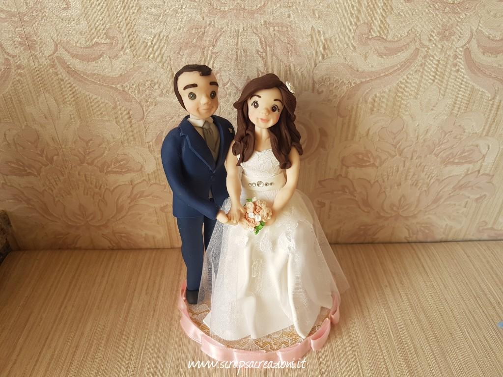 cake topper sposa abito tulle cintura