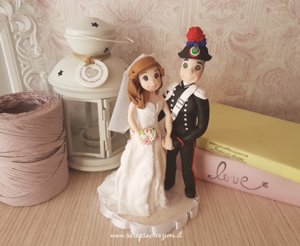 cake topper sposa abito tulle velo