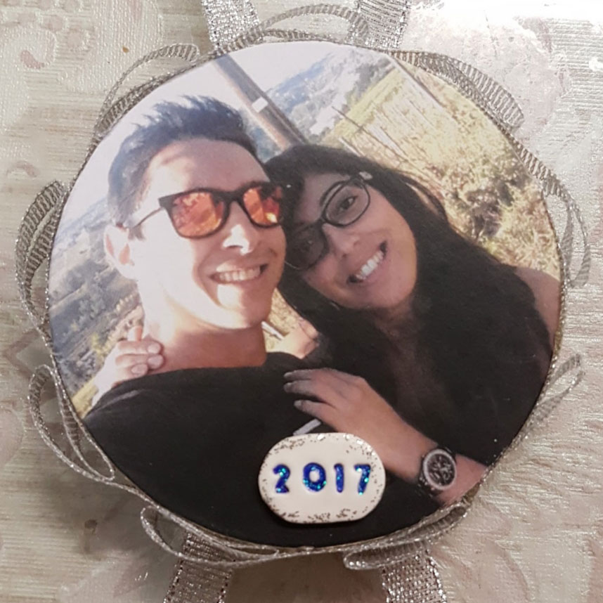 pallina di natale personalizzata, fotografia fidanzati