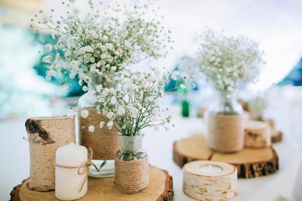 centrotavola fiori matrimonio legno country