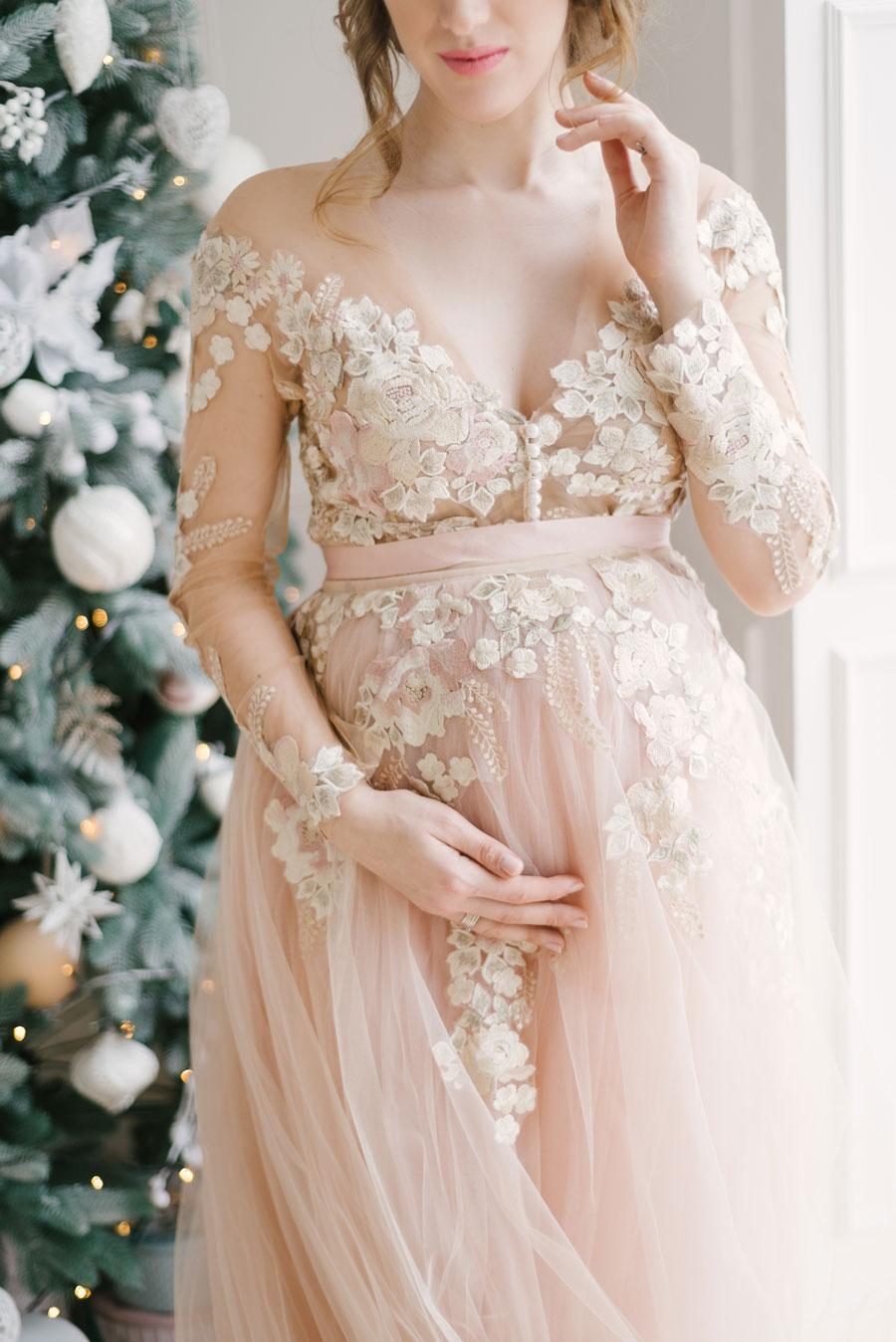 sposa incinta abito romantico
