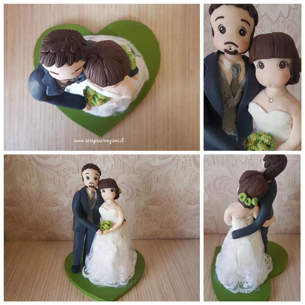 cake topper sposa abito in tessuto