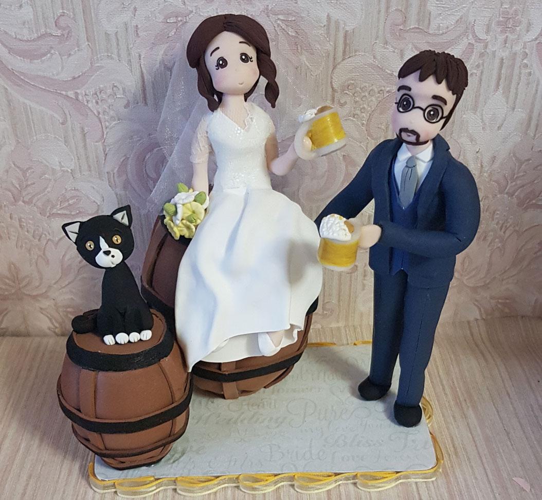 cake topper sposi personalizzati con gatto