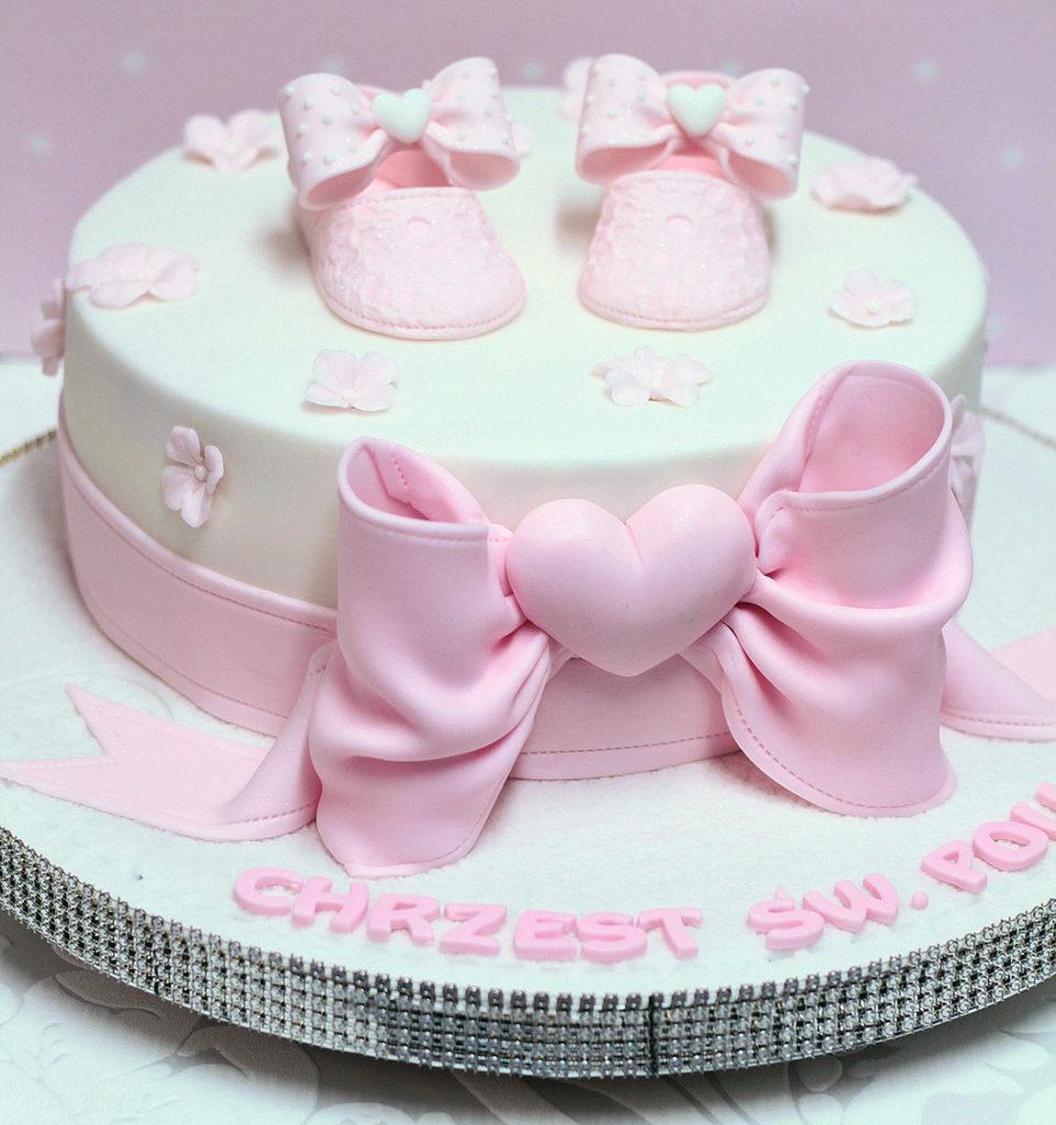 torta battesimo bimba rosa pasta di zucchero