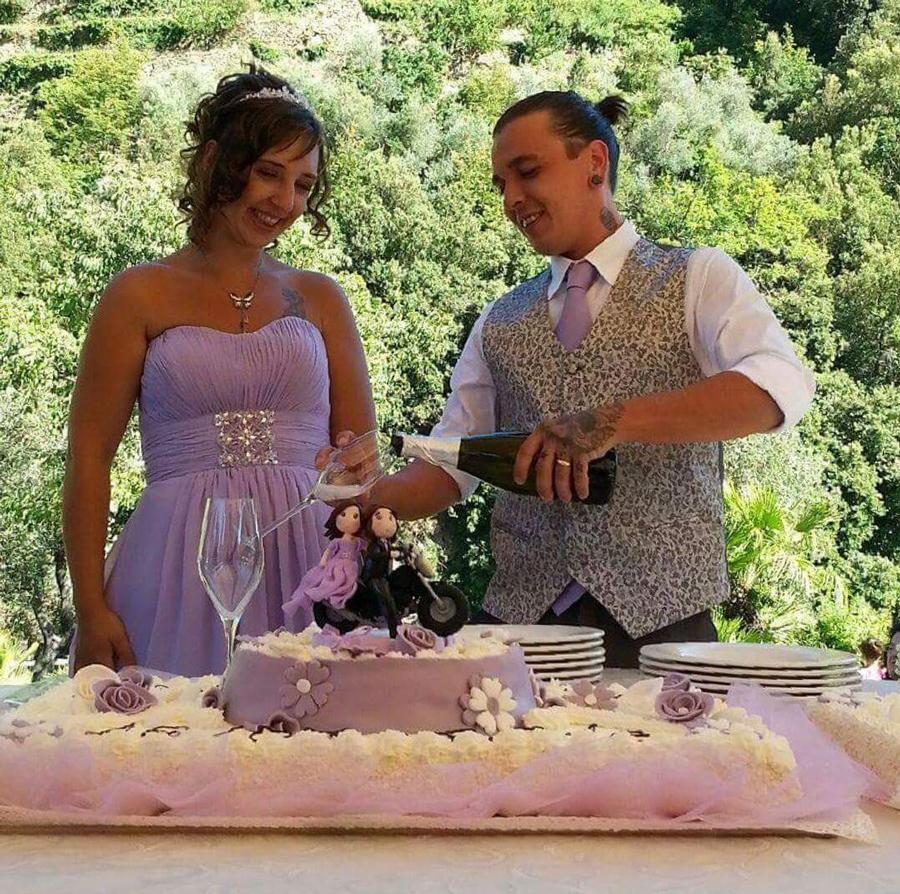torta matrimonio originale cake topper moto