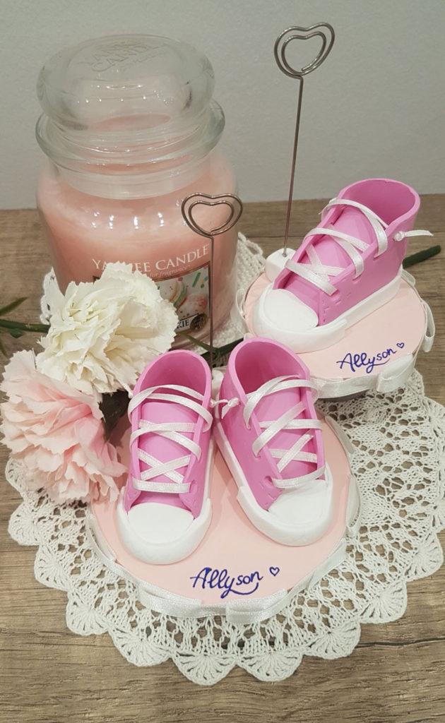 bomboniera nascita bimba portamemo scarpine rosa