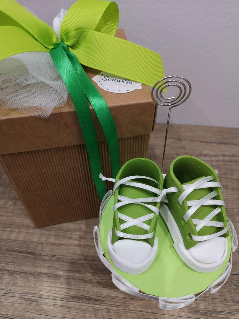 bomboniera nascita bimbo scarpette verdi portamemo